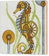 Steampunk Seahorse Wood Print by Nora Blansett