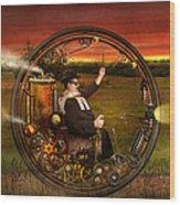 Steampunk - The Gentleman's Monowheel Wood Print by Mike Savad