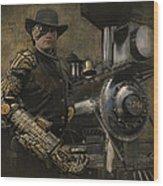 Steampunk - The Man 1 Wood Print