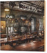 Steampunk - The Workshop Wood Print by Mike Savad