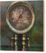 Steampunk - Train - Brake Cylinder Pressure  Wood Print by Mike Savad