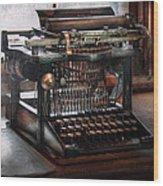 Steampunk - Typewriter - A Really Old Typewriter  Wood Print by Mike Savad