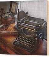 Steampunk - Typewriter - The Secret Messenger  Wood Print by Mike Savad