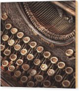 Steampunk - Typewriter - Too Tuckered To Type Wood Print by Mike Savad