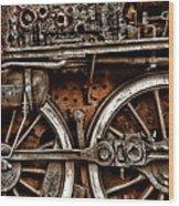 Steampunk- Wheels Locomotive Wood Print