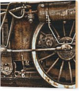 Steampunk- Wheels Of Vintage Steam Train Wood Print