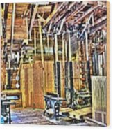 Steampunk Woodshop 4 Wood Print