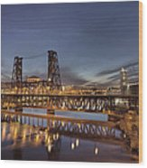 Steel Bridge Over Willamette River At Blue Hour Wood Print