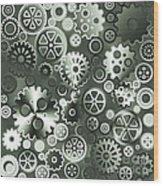 Steel Gears Wood Print