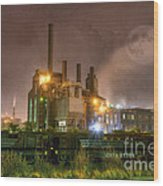 Steel Mill At Night Wood Print