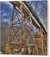 Steel Strong Rr Bridge Over The Yellow River Wood Print