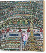Steep Stairs Lead To Higher Level Of Temple Of The Dawn-wat Arun In Bangkok-thailand Wood Print
