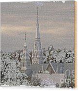 Steeples In The Snow Wood Print
