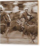 Steer Roping Wood Print by Bill Keiran