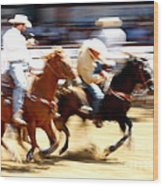 Steer Wrestling Wood Print