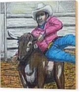Steer Wrestling Original For Sale Wood Print