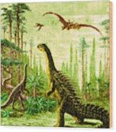 Stegosaurus And Compsognathus Dinosaurs Wood Print