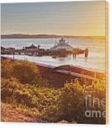 Steilacoom Ferry Dock At Sunset Wood Print