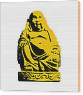 Stencil Buddha Yellow Wood Print