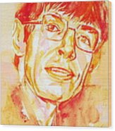 Stephen Hawking Portrait Wood Print