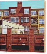 Stepped Building Wood Print