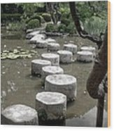 Stepping Stone Kyoto Japan Wood Print