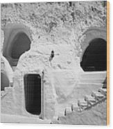 steps from the courtyard up to the entrance of the caves at the Sidi Driss Hotel underground at Matmata Tunisia scene of Star Wars films Wood Print