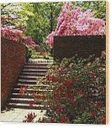 Steps To Azalea Fairyland Wood Print