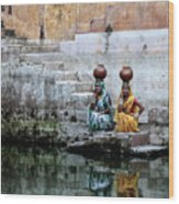 Stepwell Reflections Wood Print