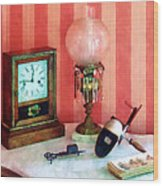 Stereopticon Lamp And Clock Wood Print
