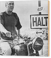 Steve Mcqueen On Motorcycle Wood Print by Retro Images Archive
