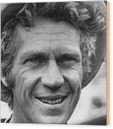 Steve Mcqueen Smiling With Hat Wood Print by Retro Images Archive