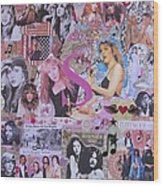 Stevie Nicks Art Collage Wood Print