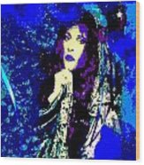 Stevie Nicks In Blue Wood Print