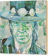 Stevie Ray Vaughan- Watercolor Portrait Wood Print