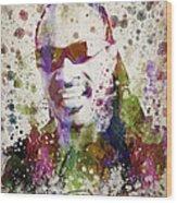 Stevie Wonder Portrait Wood Print by Aged Pixel