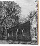 St.helena Chapel Of Ease Bw 1 Wood Print by Steven  Taylor