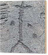 Stick Figure Petroglyph Wood Print