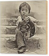 Sticky Boot Antique Sepia Wood Print