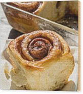Sticky Cinnamon Buns Wood Print