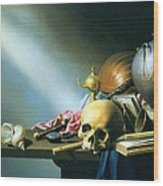 Still Life An Allegory Of The Vanities Of Human Life Wood Print