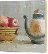 Still Life Apples And Tea Pot Wood Print by Yury Malkov