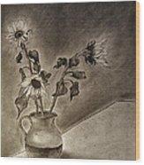 Still Life Ceramic Pitcher With Three Sunflowers Wood Print by Jose A Gonzalez Jr