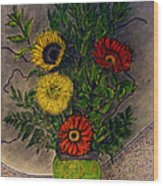 Still Life Ceramic Vase With Two Gerbera Daisy And Two Sunflowers Wood Print