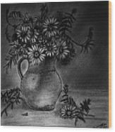 Still Life Clay Pitcher With 13 Daisies Wood Print