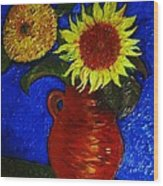 Still Life Clay Vase With Two Sunflowers Wood Print