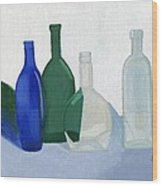 Still Life - Glass Bottles Wood Print by Bav Patel
