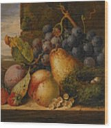 Still Life Grapes Pares Birds Nest Wood Print by Edward Ladell
