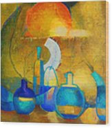 Still Life In Ocher And Blue Wood Print