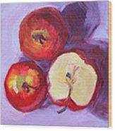 Still Life Kitchen Apple Painting Wood Print